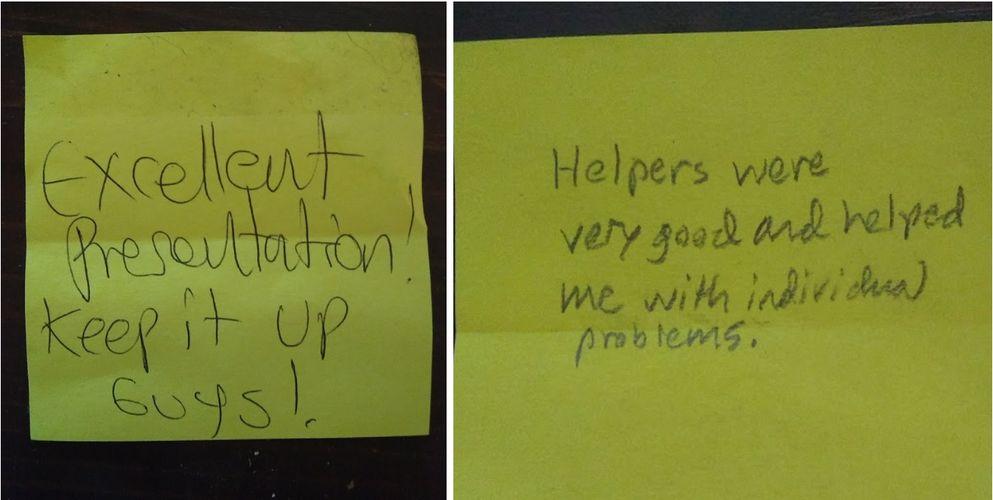 Sticky note feedback