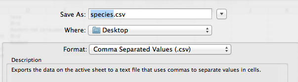 Exporting data from spreadsheets